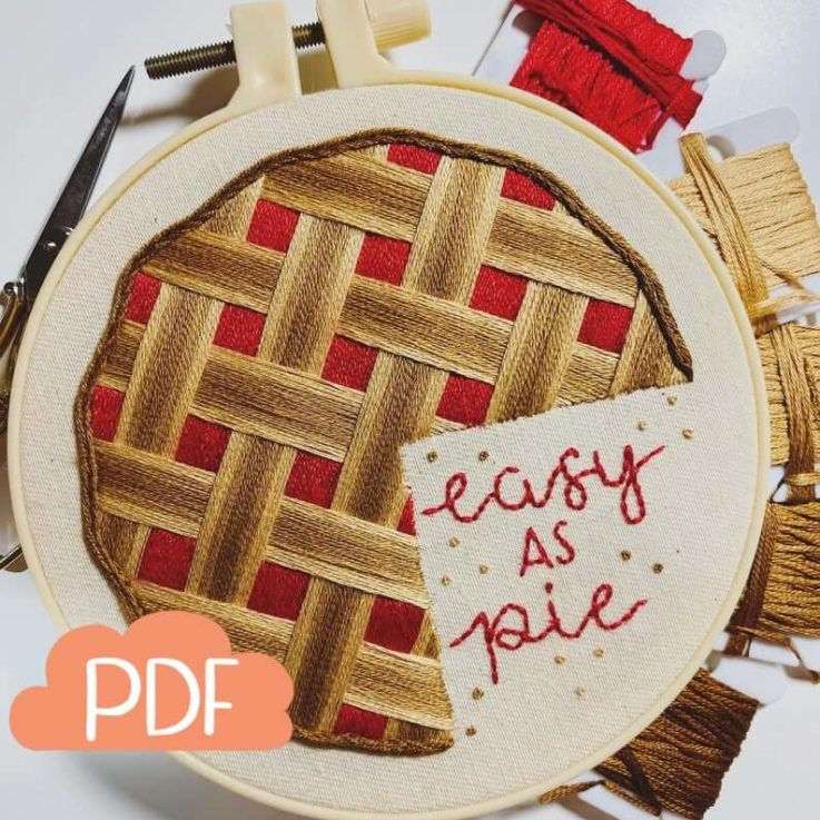 Easy As Pie - Strawberry Cranberry Pie - Embroidery Pattern - PDF Instant Digital Download - With DMC colour codes