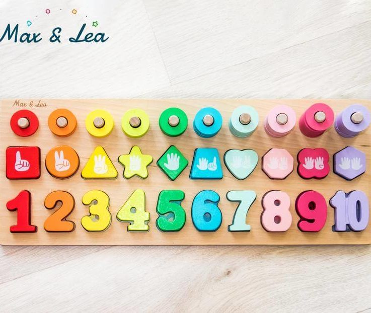Educational Puzzle Toy 8 in 1 for Fine Motor Skills Math, Numbers, Counting, Shapes, Colours, Gradients, Animals, Concentration, Autonomy
