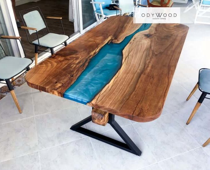 Elm Woood River Epoxy Table