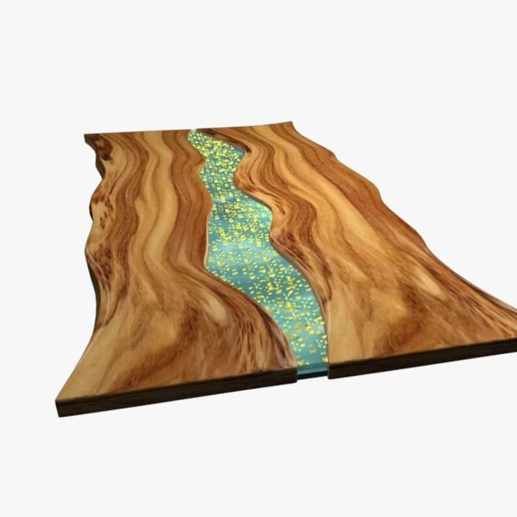 Epoxy Resin Olive Wood Table in Special Blue River Style with Gold Flakes