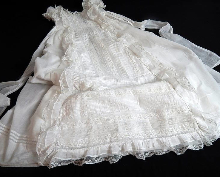Exquisite Vintage French Christening Gown Handmade Fine Cotton with Embroidery and Lace