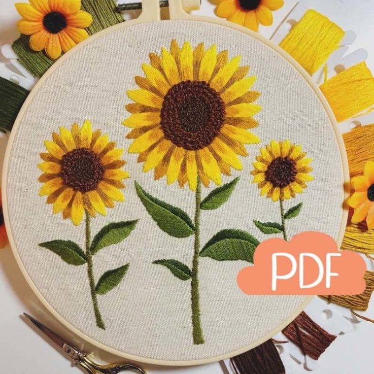 Fall Sunflowers - Embroidery Pattern - PDF Instant Digital Download