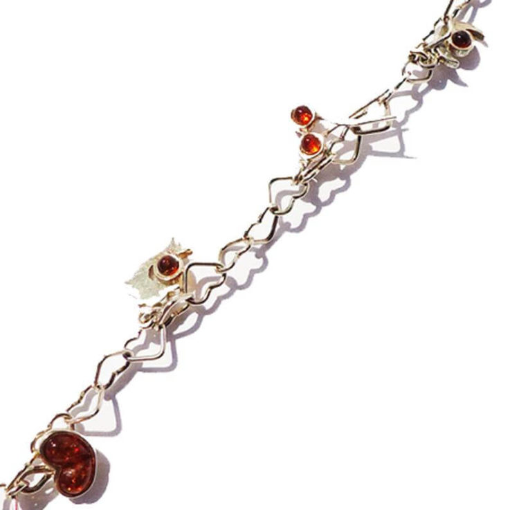 Fancy sterling silver 925 heart chain bracelet and six charming charms with honey baltic amber. Unique gift for your loved one. silver jewel