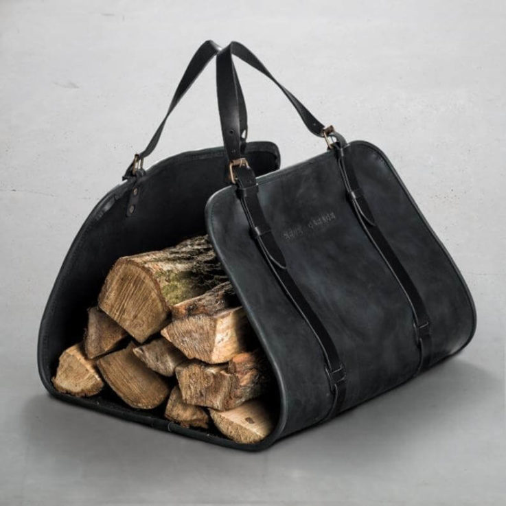 Firewood tote bag by Kruk Garage Black Leather log carrier Campfire tote Home fireplace bag Outdoor Men's gifts FREE PERSONALIZATION