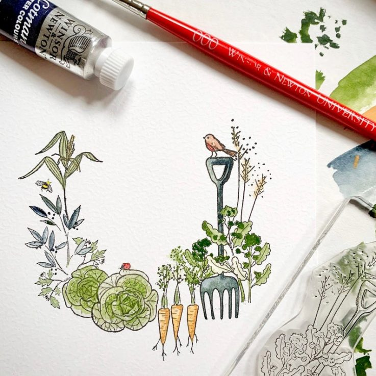 Garden Allotment Stamp - Gardening Rubber Stamp - Garden Stamp - Vegetable Stamp - Allotment Stamp - Little Stamp Store - Sticky Stamp