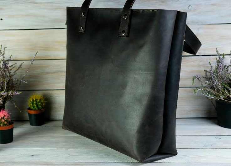 Genuine leather bag, leath shopping bag, leather tote bag, leather tote bag with zipper, personalized women bag, gift for her