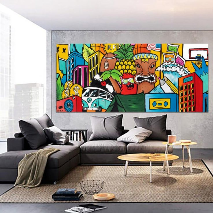 Graffiti Style Wall Art, Colorful Pop Art Style Painting, Original Street Art Drawing, Gift For Him.
