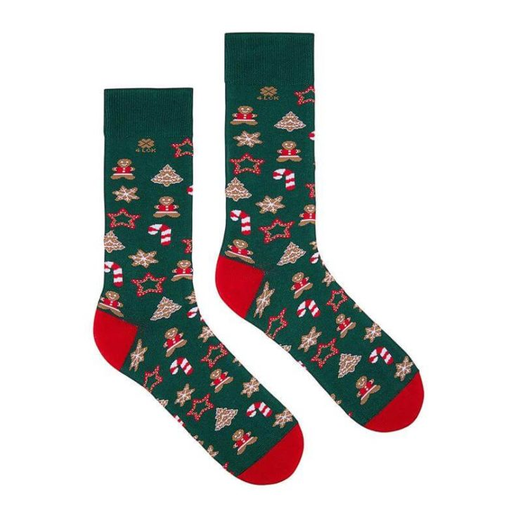 Green Christmas Socks with Gingerbread
