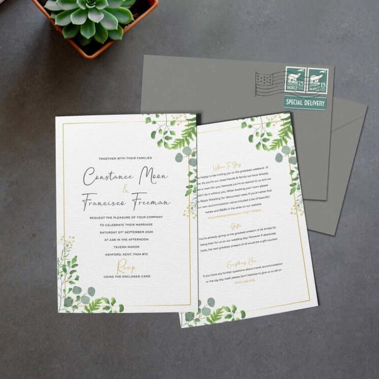 Greenery Wedding Invitation, Eucalyptus Wedding Invite, Floral Wedding Invites, Wedding Invitations Rustic, Evening, Menu, Green, RSVP, Gold