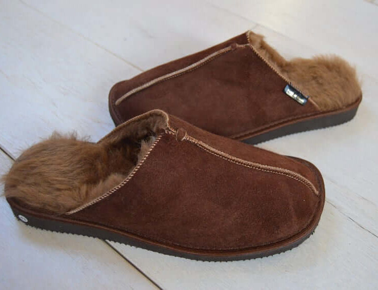 Hand Crafted Luxury Mens Genuine Sheepskin Mule Slippers 100% Just Fur Lined gift christmas present ideas personalized eco tanned in UK