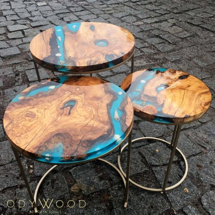 Kanyon Epoxy Resin Coffee Table Set