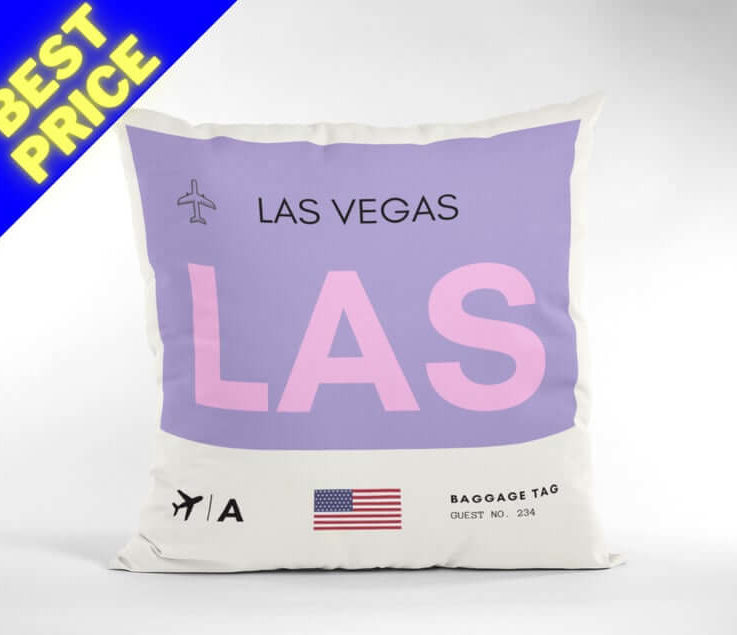 LAS VEGAS Travel Pillow - LAS Airport Code - Usa - Travelling - Airports - Decor Pillow - Neck Pillow - World - Funny Pillow - City Theme