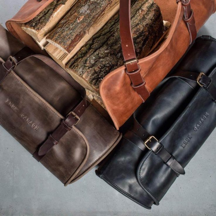 Leather Log Carrier Leather log holder Firewood holder Leather tote bag Fireplace accessory Outdoor Accessory