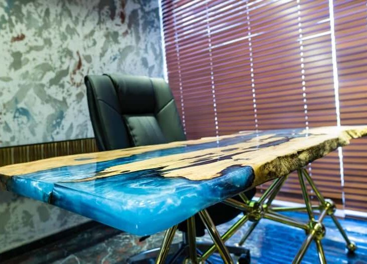 Live Edge River Epoxy Resin Office Desk