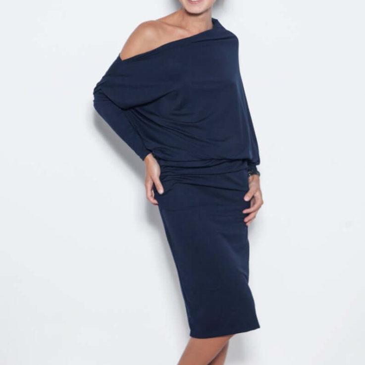 Long Evening Dress, Dark Blue Dress, Off Shoulder Dress, Loose Dress, Elegant Dress, Formal Dress, Minimalist Clothing, Cocktail Dress le muse