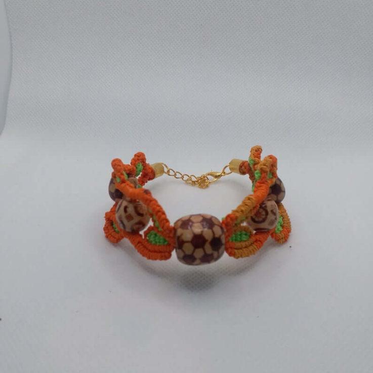 Macrame Bracelet Boho Bracelet Orange Jewelry Wooden Ball Beads Edwardian Style Rare Product