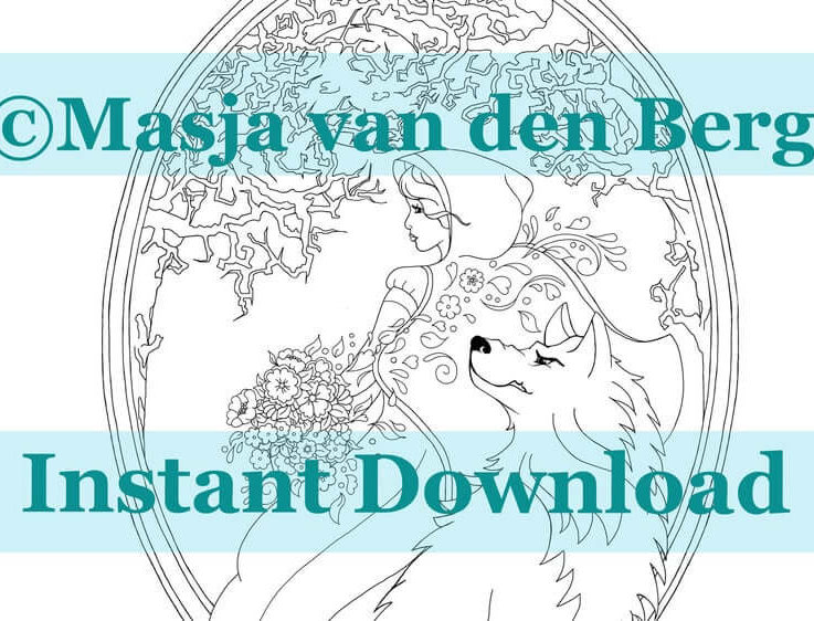 Masja's Fairytales, Little Red Riding Hood, Coloring page download