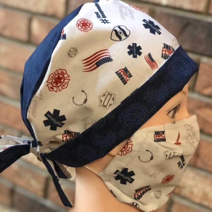 Matching Scrub Hat and Face mask combo with filter pocket, Carbon Filter, and adjustable nose piece a