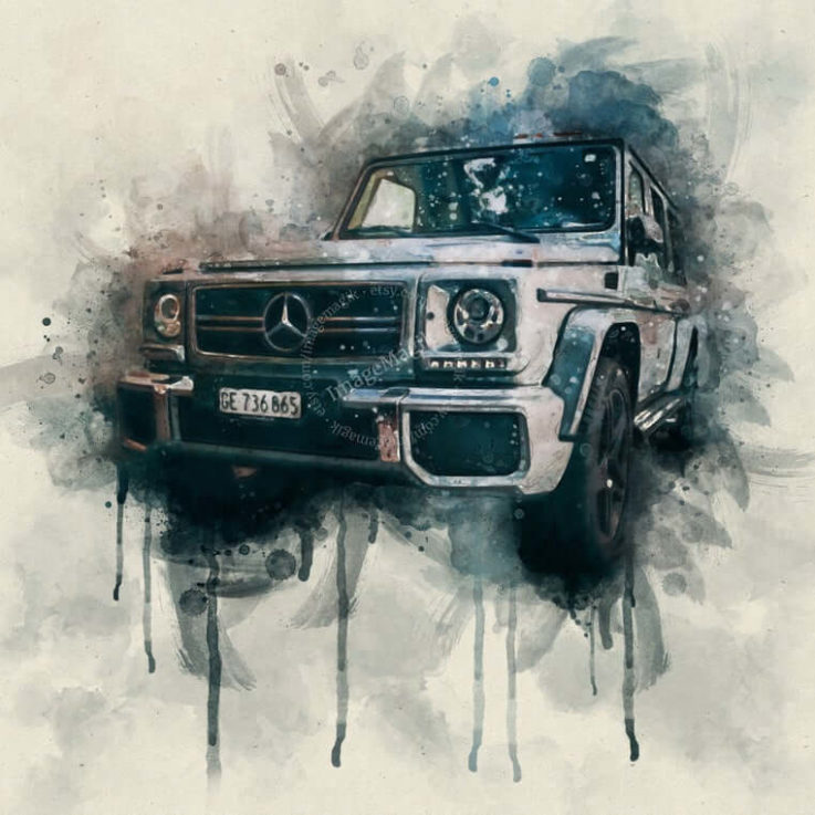 Mercedes Benz Custom Watercolor Portrait, Painting From Photo, Gift for Car Enthusiast