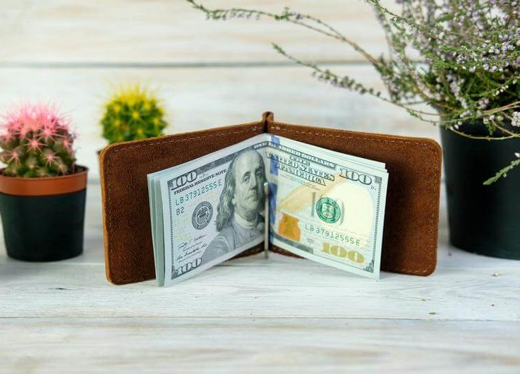 Money clip leather,A gift for him, Gift for Dad, Gift for Boyfriend, Сompact money clip, Сompact wallet with engraving, Leather money clip