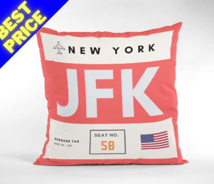 NEW YORK Travel Pillow - JFK Airport Code - Usa - Travelling - Airports - Decor Pillow - Neck Pillow - World - Funny Pillow - City Theme