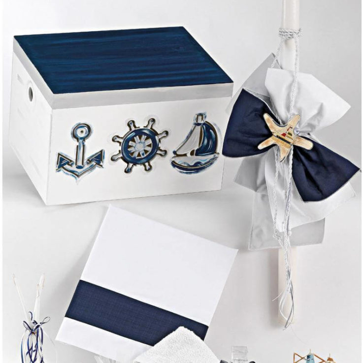 Nautical baptism Greek christening SET Ladopana Candle Keepsake box Baby boy Marine theme orthodox blessing Anchor Wheel Boat Godson gifts