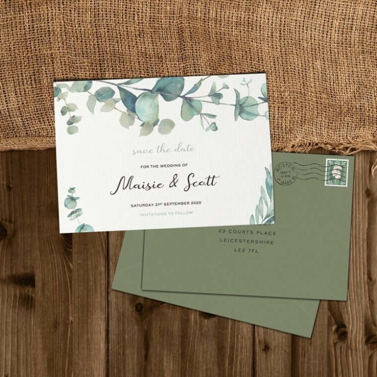 Olive Save The Date, Greenery, Save The Dates Green, Wedding Save The Date Cards, Personalised, Eucalyptus, Rustic, Country, Barn, Boho