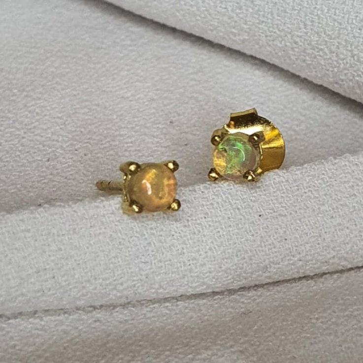 Opal Studs Earrings Opal Earrings Gold October Birthstone Silver Earrings Small Studs Dainty Studs Cartilage Studs Helix Stud