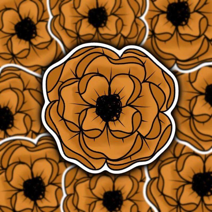 Orange Fall Floral Sticker