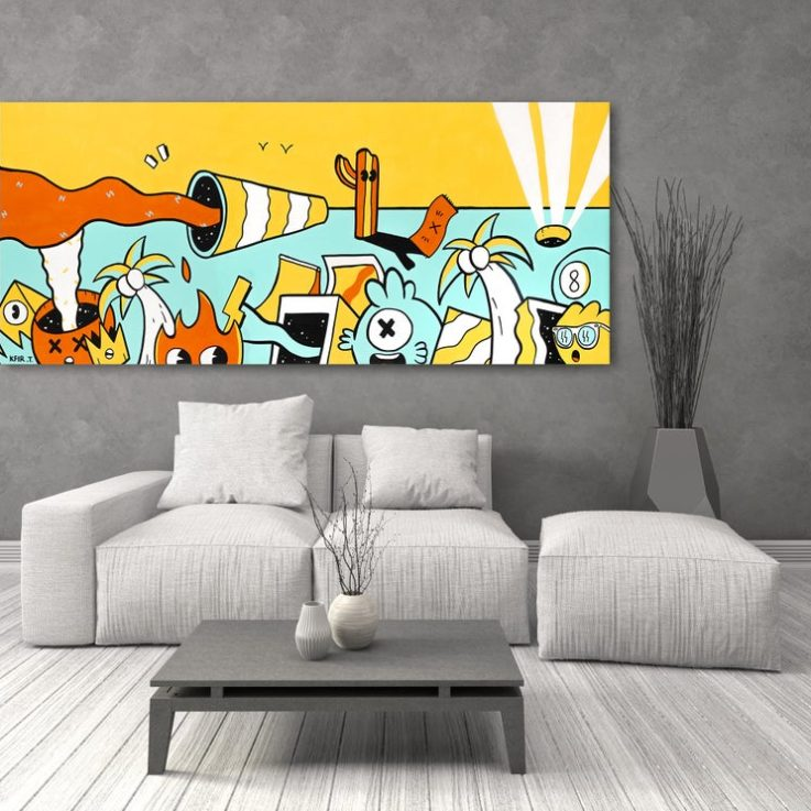 Original Painting On Canvas, Colorful Pop Art Wall Art, Large Wall Art, Canvas Wall Hanging, Unframed