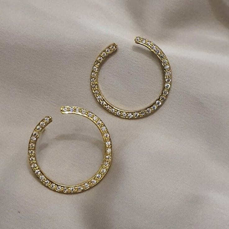 Pave Earrings Small Hoops Dainty Hoops Ear Lobe Cuff Minimalistic Jewellery Stacking Earring Geometric Studs