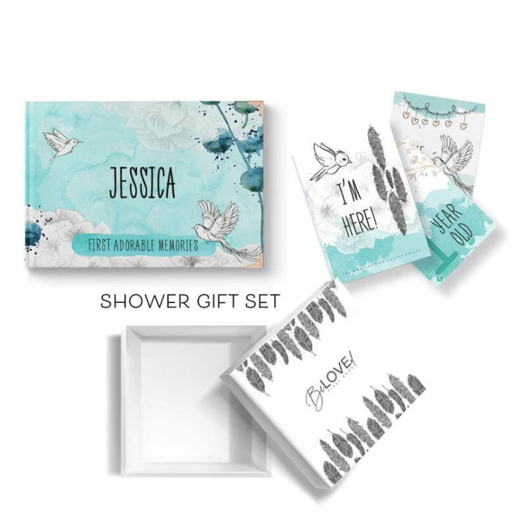 Personalised Shower gift set Baby's first book, monthly milestones cards, gift box Pastel MINT Baby boy Baby first Journal