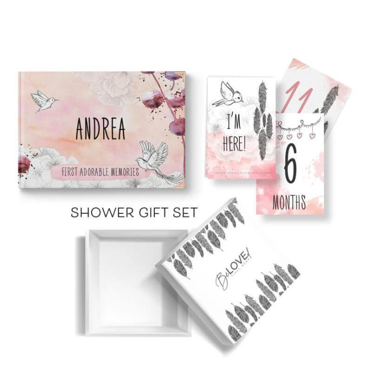Personalised Shower gift set Baby's first book, monthly milestones cards, gift box Pastel PINK Baby girl Baby first Journal