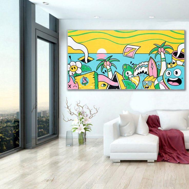 Pop Art Canvas Print , Street Art Painting, Graffiti Wall Art, Large Wall Art, Oversize Wall Decor, Canvas Wall Hanging, Living Room Decor