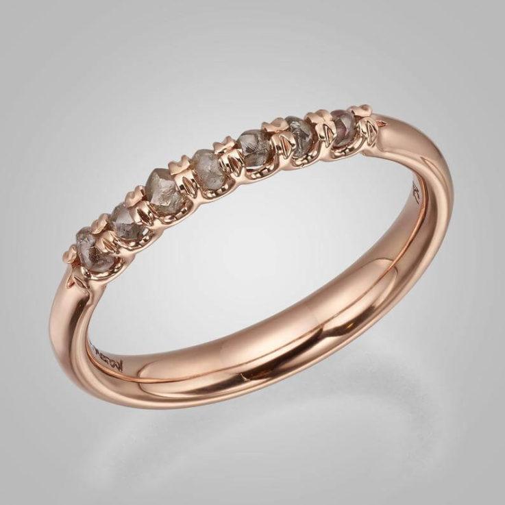 Raw Diamond Eternity ring, Raw Diamond ring, Rough Diamond Eternity Ring, Rough Diamond ring, Rose Gold Ring, Rose gold eternity ring