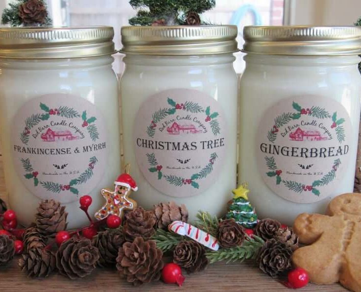 Red Barn Christmas Aromatherapy Candles All-Natural Soy Wax & Dried Flowers Essential Oil Infused Odor Eliminate + Relax Toxin Free
