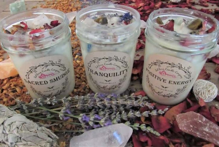 Red Barn Crystal Herb Candles All-Natural Soy Wax and Dried Flowers Essential Oil Infused Odor Eliminating + Relaxation Toxin Free