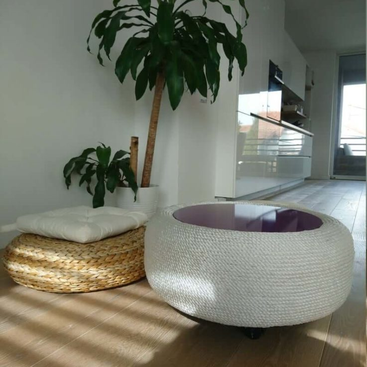 Round Coffee Table For Indoor or Outdoor Use With Hidden Storage Space Upholstered In Silk, Round End Table, Custom Coffee Table