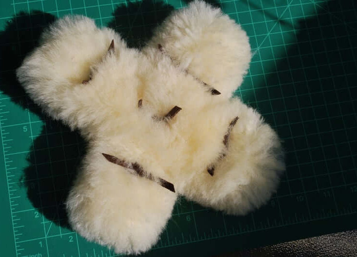 SMALL Natural Shaggy Sheepskin Squeaky Toy, Fluffy Flinging Toy and Cuddly Comfort Toy for Dogs