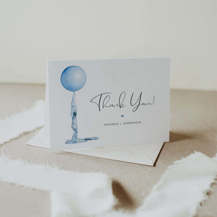 STELLA Blue Balloon Thank You Card Template, Baby Blue Thank You Card Printable, Baby Shower Thank You, Boy Birthday Thank You Instant DIY