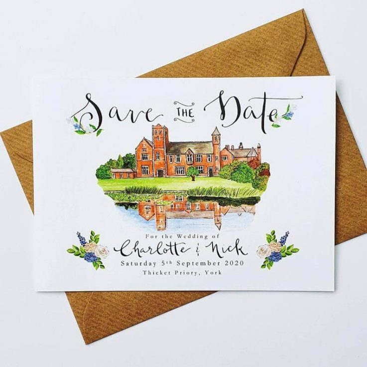 Save the Date Cards Custom Illustrated Venue Save the Dates