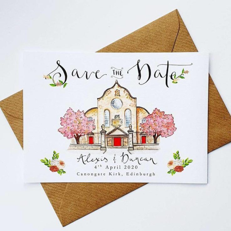 Save the Date Printable Custom Illustrated Venue Wedding Stationery