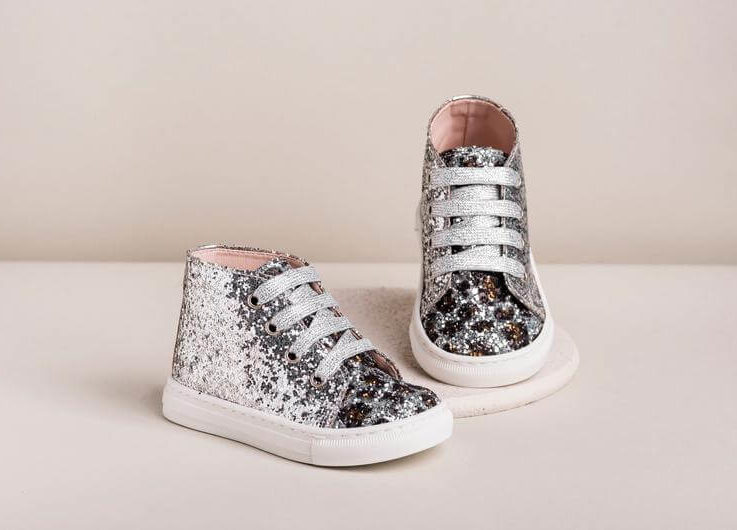 Silver glitter leather shoes Baby girl sneakers wedding Formal baptism infant boots Greek christening Unique gifts size 3 4 5 6 US EU