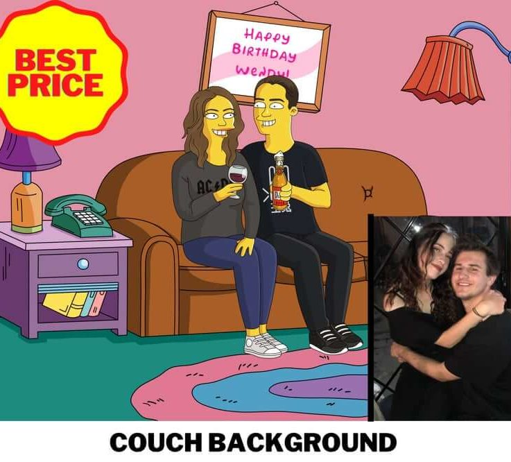 Simpson Drawing, Simpson couch, customized simpson's handmade portrait, family picture, couple portrait, customized gift, Christmas gift
