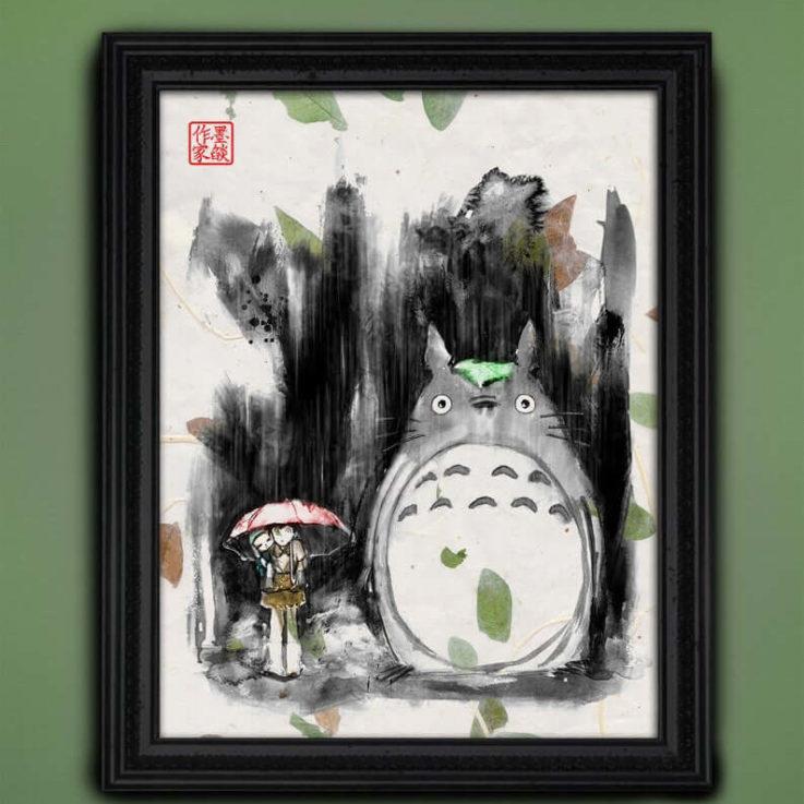 Studio Ghibli Art My Neighbor Totoro - AUTHENTIC Asian Paper REAL Leaves - Miyazaki Japanese Movie Japanese Sumi Hand Watercolor Ilustration