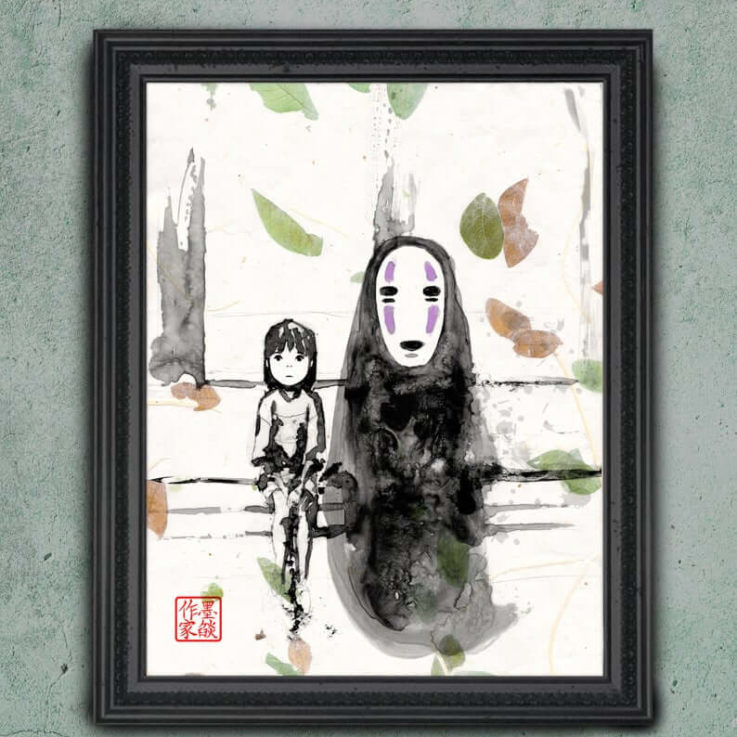 Studio Ghibli Art, Spirited Away - AUTHENTIC Asian Paper REAL Leaves - Miyazaki Japanese Movie Japanese Sumi Hand Watercolor Ilustration