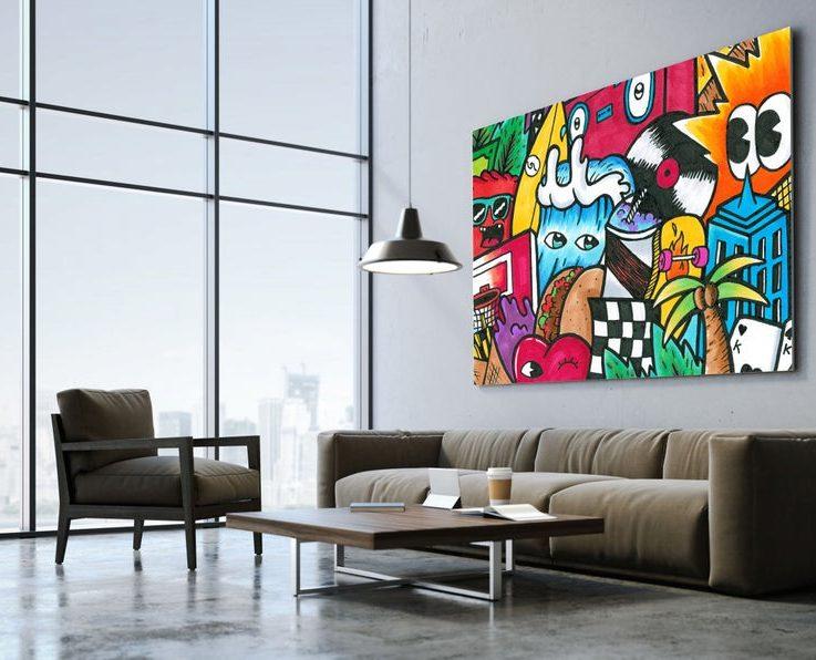 Summer Wall Art, Oversize Graffiti Wall Hanging, Pop Art Print Illustration, Cartoon Wall Art, Teenager Wall Decor, Kids