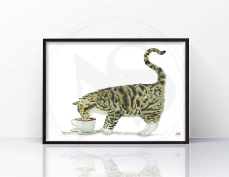 Tabby Cat and Coffee. Cat Print, Cat Decor, Wall Art, Watercolor Painting, Kitchen Decor, Wall Decor, Cat Lover Gift