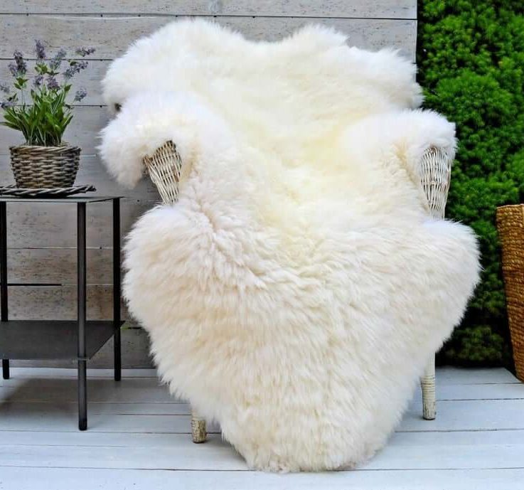 Thick and Big Bright Ivory Genuine Sheepskin lamb rug Natural Pelt Throw unique gifts christmas present ideas personalized for him eco UK