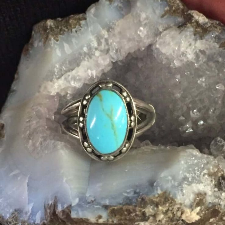 Turquoise Gemstone Ring 925 Sterling Silver Finger Size 6 12